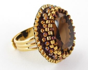 Faceted Glass Cabochon Adjustable Ring - topaz brown, gold and bronze bead embroidery with gleaming mirror-backed cabochon