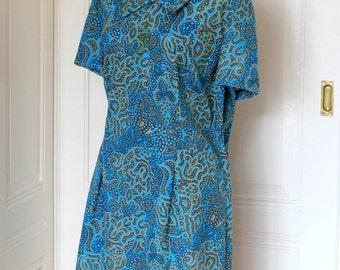 Vintage 60s turquoise blue dress//Vintage