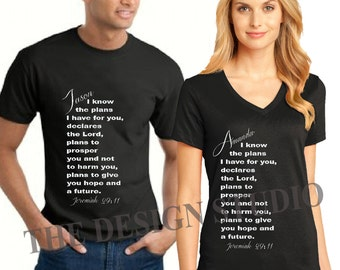 Religious T-shirt, Jeremiah 29:11, Scripture T-Shirt, Personalized, Couples T-shirt, Inspirational T-shirts, Christian Witness T-Shirt