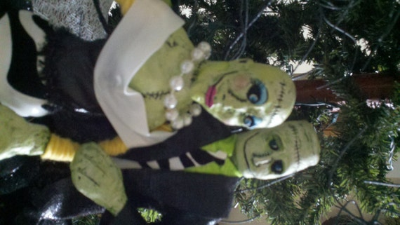 Mr & Mrs Frank Enstein made from paper clay