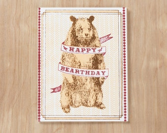 Happy Bearthday Screen Printed Greeting Card