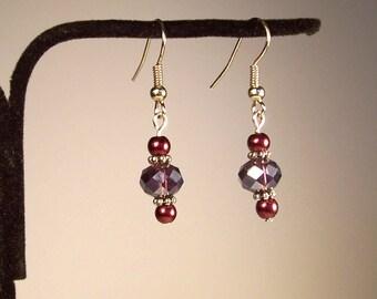 Purple Earrings, Pearl Earrings, Red Earrings, Crystal Earrings, Pearl Earrings, Round Earrings, Violet Earrings