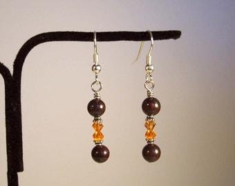 Orange Earrings, Brown Earrings, Jasper Earrings, Brown Jasper Earrings, Swarovski Earrings, Crystal Earrings, Fall Earrings