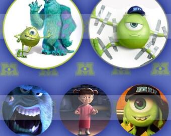 Monsters (087) Digital Collage Sheet 4x6 bottle cap images .. Bottlecap glass tiles ..