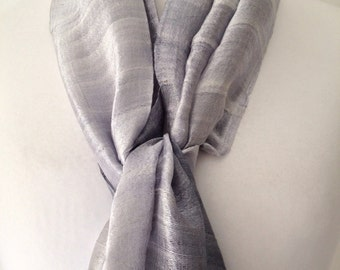 Thai Silk Scarf in Silver Grey , 100% Silk , Raw Silk, Hand dyed Scarf , Fair Trade,  Silver Wrap, Wedding Prom Wrap