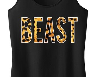 BEAST Leopard on Black Workout Tank, Workout Clothing, Workout Tanks, Gym Tank, Motivational Workout, Workout Shirt, Fitness