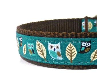 Owl dog collar/ teal dog collar/ ribbon dog collar / adjustable dog collar/ martingale collar