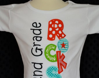 Personalized 2ND Grade Rocks Applique Shirt or Onesie Girl or Boy