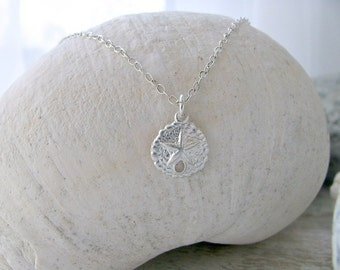 Silver Sand Dollar Necklace Sand dollar jewelry 925 Sterling Silver Necklace Beach Jewelry Bridesmaid Gifts Beach Wedding Charm Necklace