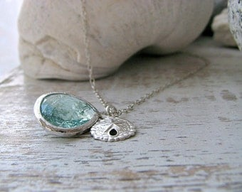 Aquamarine Necklace Sand Dollar Necklace Erinite gemstone 925 Sterling Silver Erinite Jewelry Beach Wedding Beach jewelry march birthstone