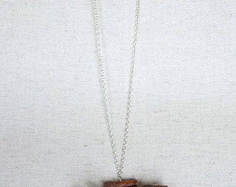 Natural Pine Wood Pendant. Handmade. Silver color chain. Eco friendly For Nature Lovers Made in Latvia