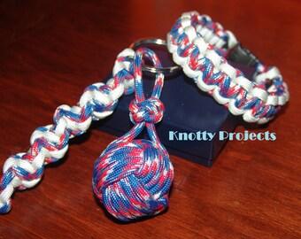 patriotic paracord bracelet and keychain set