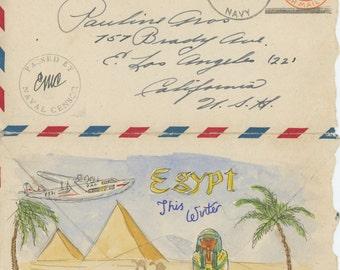 Egypt by Pan Am! - World War II vintage love letter original illustration