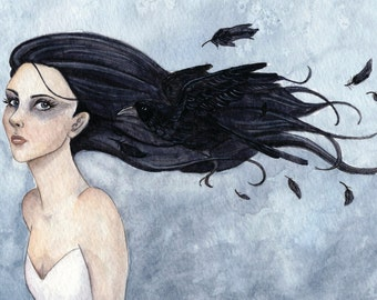 woman with raven black hair small art piece and artist trading card