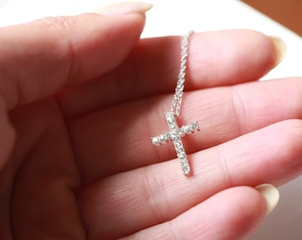 TINY SILVER crystal Cross Necklace ,  Celebrity Necklace Taylor Jacobson Celebrity