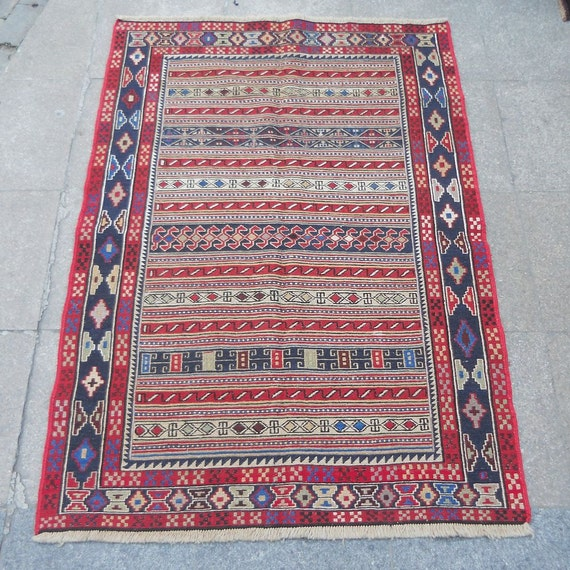 Vintage Turkish Kilim RugSHIPPING By BUTTERFLYRugs On Etsy