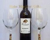 Leopard Print Glittered Wine, Stemless or Champagne Glasses.