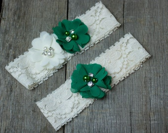 Green and Ivory Wedding Garter, Shabby Chic Garter
