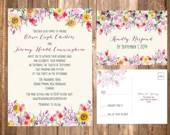 Vintage Bohemian Wedding Invitation SET; Amethyst