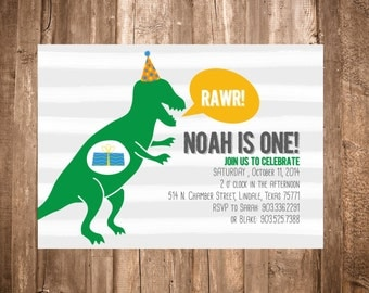 Dinosaur Birthday Invitation; T-Rex; Rawr; Printable or set of 10