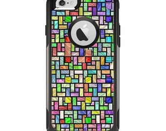 The Colorful Abstract Tiled Apple iPhone 6 Otterbox Commuter Case Skin Set