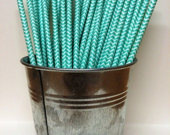 50 Aqua Teal Chevron Paper Straws for Parties, Gender Reveal, Weddings, Baby Showers, Birthdays, Bar Mitzvah, Bat Mitzvah, Ice Cream Social