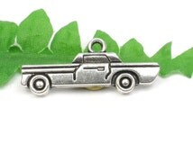 5 Silver Antique Car Charms, Classic Vehicle Charms, Automobile, Charms for Men 28mm x 11mm C110