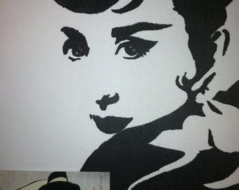 Audrey Hepburn Charcoal Drawing Print from Original Breakfast at Tiffany's Holly Golightly Funny Face