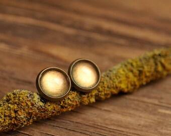 Tiny moon glow earrings, moon glow stud earrings, antique brass earrings, gun metal studs, post earrings, stud earrings, glass earrings
