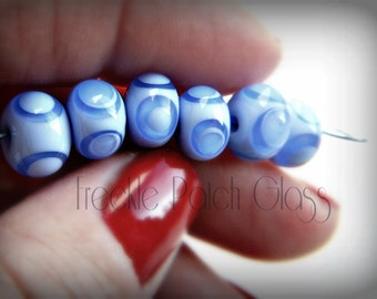 Itty Bitty Blue on Baby Blue Dot Spacers set of 6,  Handmade Lampwork Glass Beads,  10mmx 6mm