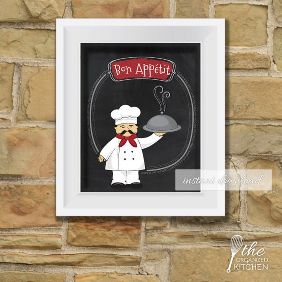 kitchen chef decor bon appetit printable sign kitchen