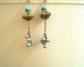 Earrings - Silver and Turquoise Dangle Earrings