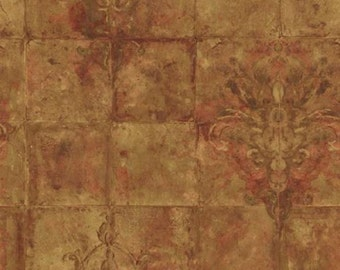 Wallpaper By The Yard - Bronze, Gold, Copper, Brown, Antiqued, Tumbled Tile - Tuscan, Architectural, Texture, Old World, Metallic - PA5526