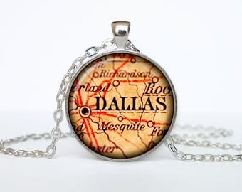 Dallas map pendant, Dallas  map necklace,Dallas map jewelry, Dallas Texas