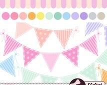 Pastel Bunting Clip Art Set, Digital Banner, Baby Shower Images, Flag Clipart Download