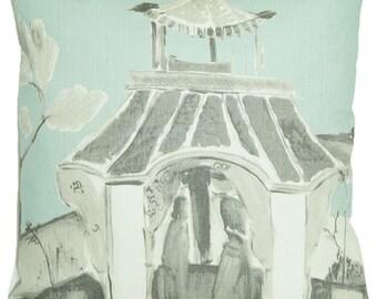 Duckegg Cushion Cover Asian Style House Decorative Throw Pillow Case Printed Linen Fabric Palaise Nina Campbell