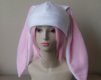Fleece Rabbit Hat / WHITE + PASTEL PINK Beanie Style with Long Bunny Ears Cute Anime Cosplay Rabbit Ears Usagi Ears Kawaii Japanese Fashion