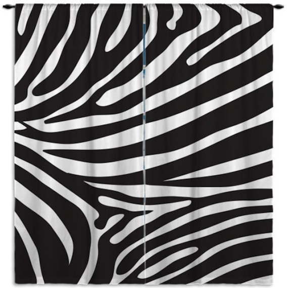 Items similar to zebra print window curtains black and for Animal print window treatments