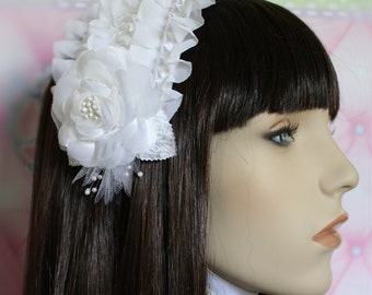 MADE TO ORDER-Heavenly Shiro Headdress-Lolita Headdress-Communion-Wedding Hair Accessory-Maxi Pad Headdress