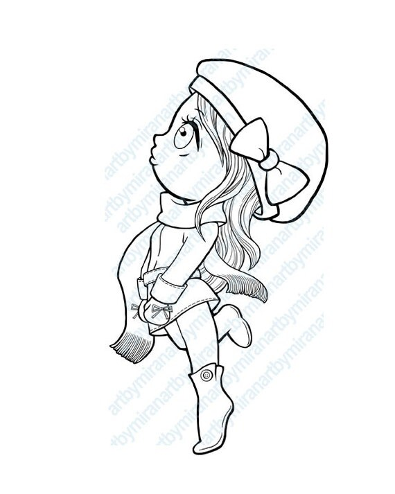 Winter Digital Stamp Coloring Page Girl Wear Hat And By