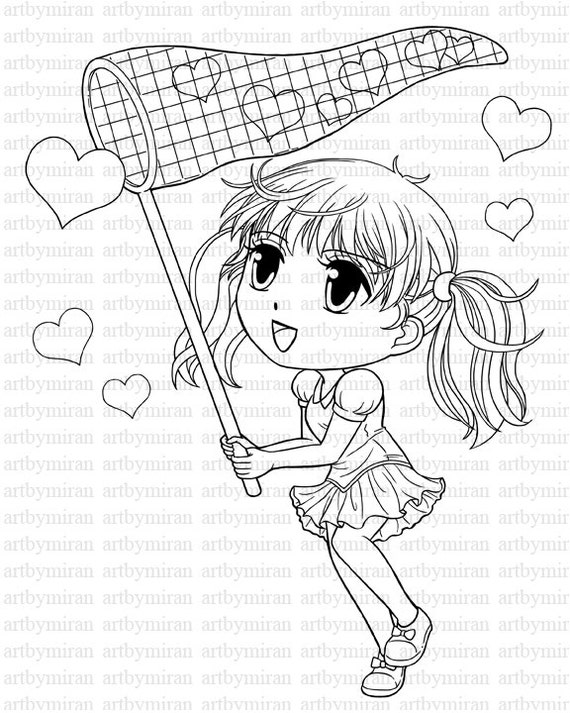 Digi Stamp-Catching Hearts, Cute Girl Coloring page, Heart Digital Stamp, Printable Line art for Card and Craft Supply, Art by Mi Ran Jung