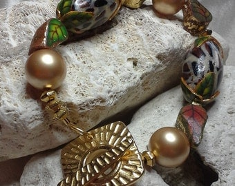 Animal Print Poly Clay Beads and Pearls with Gold Textured Toggle Custom Statement Bracelet embellished with crystals from Swarovski®