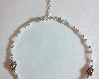 Rainbow Moonstone & Labradorite Sterling Silver Anklet with Swarvoski Crystals