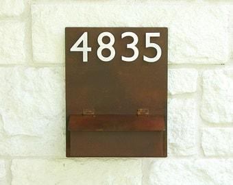 Rustic Modern Mailbox with (4) Brushed Aluminum Address Numbers (Free Shipping)
