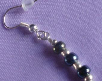 Smokey Blue Beaded Drop Earrings