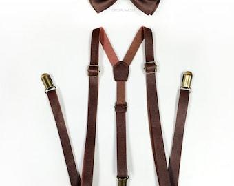 Brown Suspenders, Brown Bowtie, brown leather suspenders, brown bowtie set, Men's Suspenders, Barnyard Wedding, Groomsmen, Ringbearer