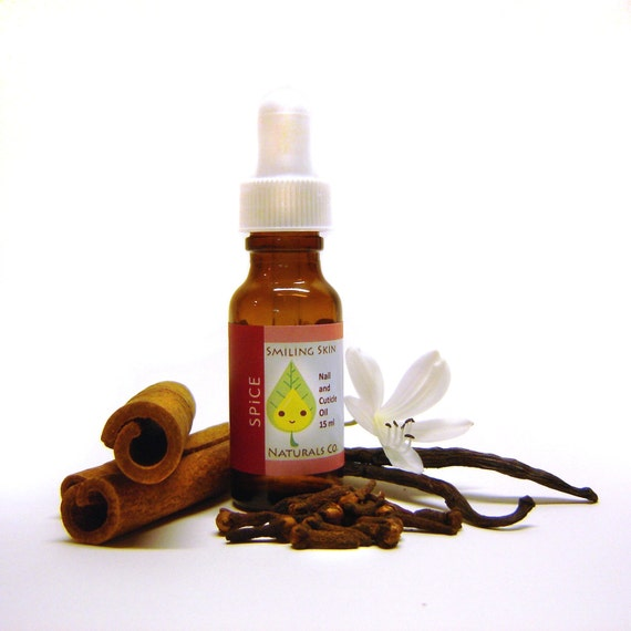 Spiced All Natural Nail & Cuticle Oil, made with Organic Jojoba Oil and Essential Oils, Vegan, Cinnamon, Clove, Vanilla
