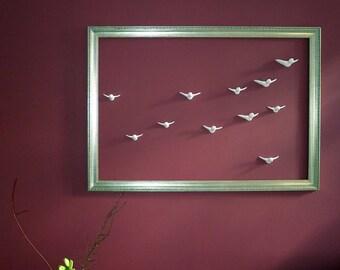 """Wall Art  """"Flock of Birds"""" 12 birds, modern decoration"""