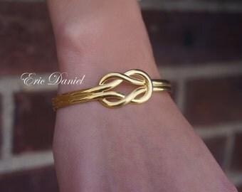Yellow Gold Love Knot Bali Bangle Bracelet, Sterling Silver, Loveknot, Infinity Bangle, Love Knot Bangle, Gold Love Knot Bangle, Bali Bangle