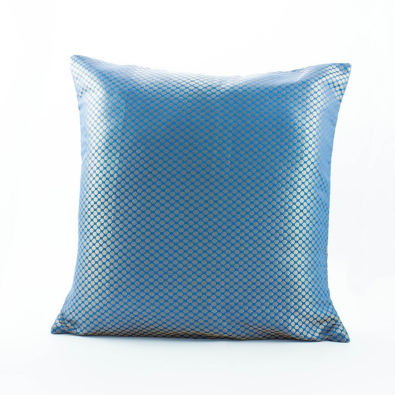 Blue Silk Pillow with Gold Dot s Decorative Throw by Fabricasia